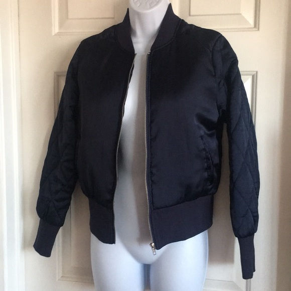 Quilted silk bomber jacket